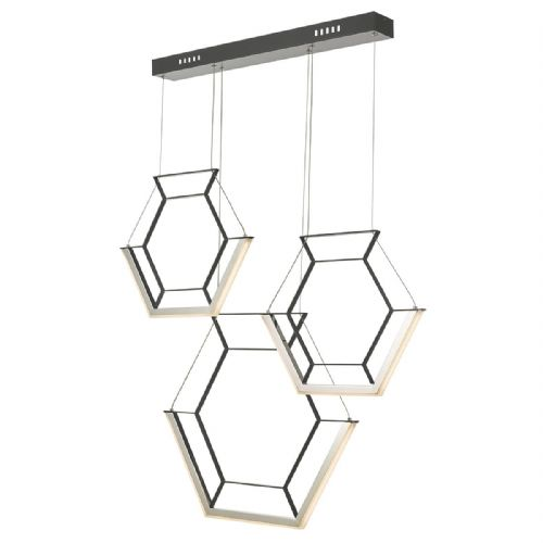 Hexagon 3lt Pendant Black LED, Double Insulated BXHEX0322-17